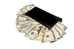 Bolsa preta com os dólares isolados Foto de Stock Royalty Free