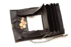Bolsa preta vazia com espaço da cópia Fotografia de Stock