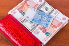 Bolsa vermelha, punhados do dinheiro e hryvnia 5 no fundo de madeira Foto de Stock