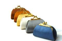 Bolsas coloridas da seda da moeda Foto de Stock Royalty Free