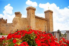 Bolsena castle in spring flowers Stock Images