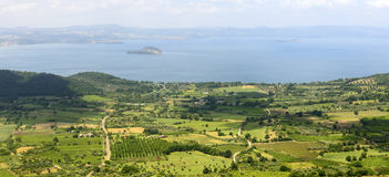 Bolsena lake from Montefiascone Stock Images