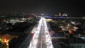 Улица Bolshaya Moskovskaya Ландшафт ночи спокойствия зимы в праздниках Нового Года Красивый замороженный ландшафт vladimir видеоматериал