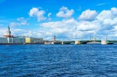 Bolshaya Neva River. The Palace Bridge over Bolshaya Neva river connects the mainland with Vasilyevsky Island, St Petersburg, Russia Royalty Free Stock Images