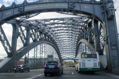 Bolsheohtinskij bridge, St. Petersburg, Russia. Royalty Free Stock Photography