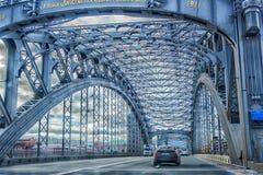 Bolsheohtinskij bridge, St. Petersburg, Russia. Stock Photos