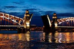 Bolsheohtinskiy bridge in Saint-Petersburg. Bolsheohtinskiy bridge through Neva river in Saint-Petersburg Royalty Free Stock Photography