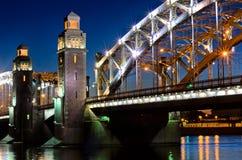 Bolsheohtinskiy bridge, Saint Petersburg. Russia. Royalty Free Stock Image