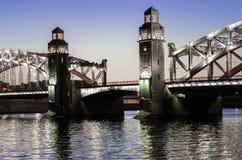 Bolsheohtinskiy bridge, St.Petersburg, Russia. Stock Photo