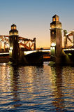 Bolsheohtinskiy bridge, St.Petersburg, Russia. Stock Images