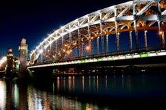 Bolsheohtinskiy bridge, St.Petersburg, Russia. Royalty Free Stock Photography