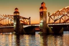 Bolsheohtinskiy bridge, St.Petersburg, Russia. Stock Image