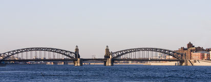 bolsheohtinsky桥梁 免版税库存图片