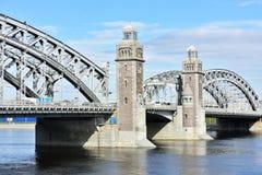 Bolsheokhtinsky桥梁在圣彼德堡,俄罗斯 库存图片