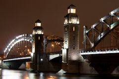 Bolsheokhtinsky Brücke Stockfotos