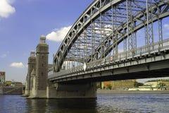 Bolsheokhtinsky bridge across Neva River in autumn day, St. Pet Stock Image