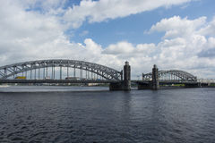 Bolsheokhtinsky bridge in the afternoon saint petersburg.  Stock Photos