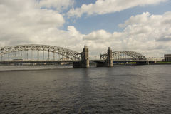 Bolsheokhtinsky bridge in the afternoon Saint Petersburg.  Royalty Free Stock Images