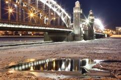 Bolsheokhtinsky bridge at night. St. Petersburg. Russia. Stock Image