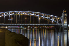 Bolsheokhtinsky bridge night view Stock Images