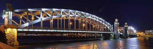 Bolsheokhtinsky Bridge panorama in St. Petersburg. Large-format night panorama of Bolsheokhtinsky Bridge in St. Petersburg Stock Photos