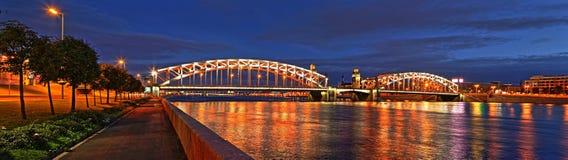 Bolsheokhtinsky Bridge panorama in St. Petersburg. Night large-format panorama of Bolsheokhtinsky Bridge in St. Petersburg Royalty Free Stock Image