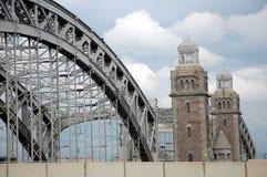 Bolsheokhtinsky Bridge in Saint-Petersburg. Across the Neva river Stock Photo