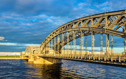 Bolsheokhtinsky Bridge in Saint Petersburg Royalty Free Stock Photo