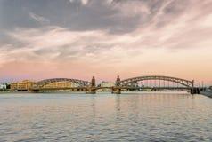 Bolsheokhtinsky Bridge in Saint Petersburg Stock Photo