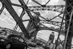 Bolsheokhtinsky bridge. In St. Petersburg. Beautiful bridge in St. Petersburg. The bridge through the river Neva. Design stock photos