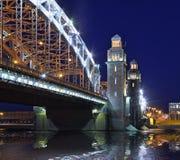 The Bolsheokhtinsky bridge in St. Petersburg. Night panorama of Bolsheokhtinsky Bridge in St. Petersburg Stock Photo
