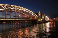 Bolsheokhtinsky bro, St Petersburg, Ryssland Royaltyfria Bilder