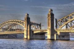 bolsheokhtinsky bro St Petersburg Ryssland Royaltyfri Fotografi