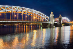 Bolsheokhtinsky Peter the Great bridge June night, Saint Petersburg Stock Photo
