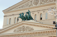 Bolshoi剧院在莫斯科,四马二轮战车 库存照片