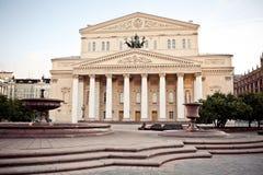 bolshoi som bygger den huvudmoscow solnedgångteatern royaltyfri foto