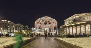 Bolshoi teatergarnering till jul och det nya året semestrar på natten moscow russia Fotografering för Bildbyråer