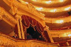 Bolshoi theater historical building interior. Tsar`s Lodge