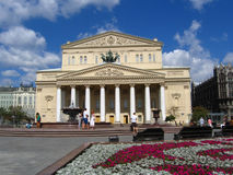 Bolshoi theater in Moscow. Theater Square is decorated by flowers. Royalty Free Stock Image