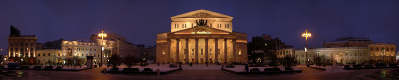 Bolshoi theater panorama. Evening stock photos