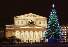 Bolshoi Theatre. (Large, Great or Grand Theatre, also spelled Bolshoy) and Christmas tree at night, Moscow, Russia Stock Image