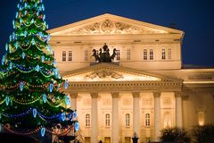 Bolshoi Theatre in the evening Moscow. Bolshoi theatre in the evening among the Christmas lights Moscow, Russia royalty free stock images