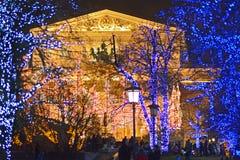 Bolshoi Theatre in the evening Moscow. Bolshoi theatre in the evening among the Christmas lights Moscow, Russia stock photos
