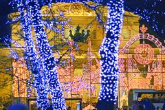 Bolshoi Theatre in the evening Moscow. Bolshoi theatre in the evening among the Christmas lights Moscow, Russia stock photography