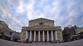 The Bolshoi Theatre (the Grand Theatre) in Moscow. Fisheye. UHD - 4K stock footage