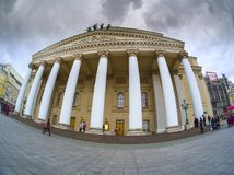 Bolshoi Theatre main entrance and Central Universal Department Store TsUM stock image