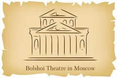 Bolshoi Theatre in Moscow, Russia lineart illustration for logo, icon, poster, banner on background imitating brown old paper with. Bolshoi Theatre in Moscow royalty free illustration