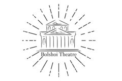Bolshoi Theatre in Moscow, Russia lineart illustration for logo, icon, poster, banner, black and white, isolated without. Background. Front view to Bolshoi vector illustration