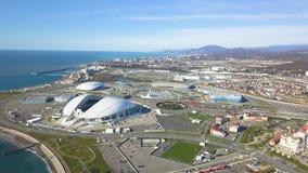Bolshoy-Eis-Haube und Adler-Arena-Eislaufmitte am Olympiapark in Adlersky-Bezirk clip Draufsicht von olympischen Orten Lizenzfreie Stockfotografie