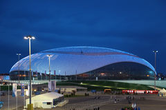 Bolshoy Ice Dome. SOCHI, ADLER, RUSSIA - MAR 16, 2014: Olympic Park in Adlersky District, Krasnodar Krai. Bolshoy Ice Dome during the closing ceremony of the royalty free stock photo